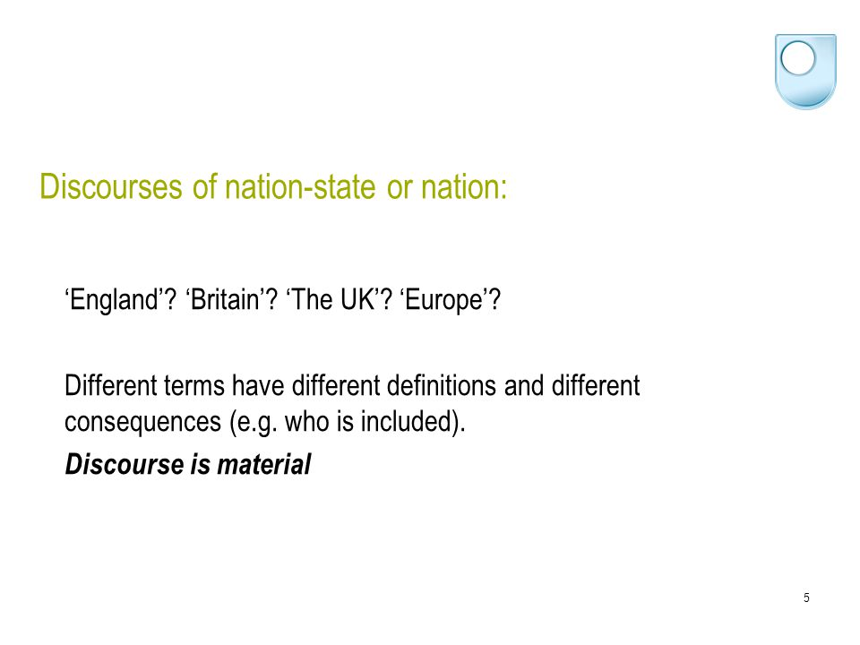 16 Analysing discourse practices around nation and national identity Charlie: I'm English.