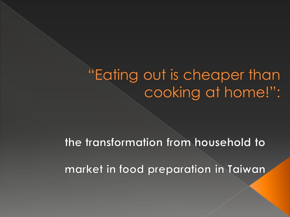  Before the 1970s: Dining out was seldom a choice of Taiwanese families  During the 1980s: Eating-out expenditure of household rose significantly  Beginning in the 1990s: RM meal market started to expand, proliferating in the past ten years