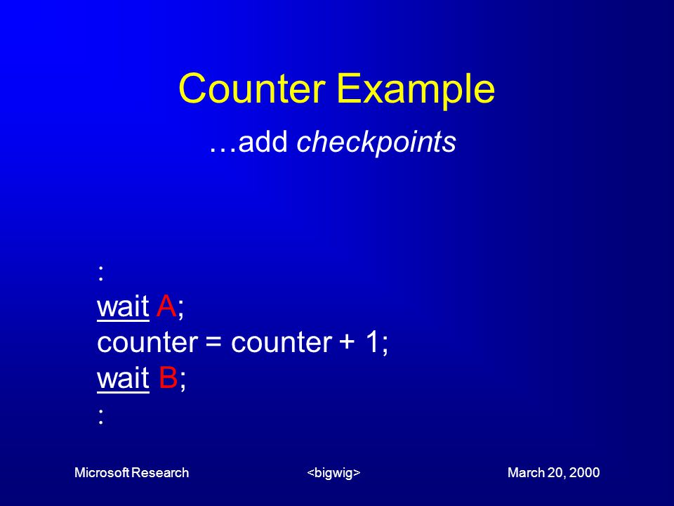 Microsoft Research March 20, 2000 Counter Example …add checkpoints  wait A; counter = counter + 1; wait B; 
