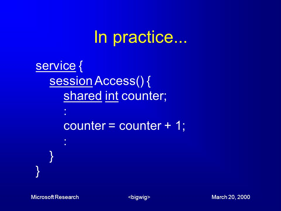 Microsoft Research March 20, 2000 In practice...