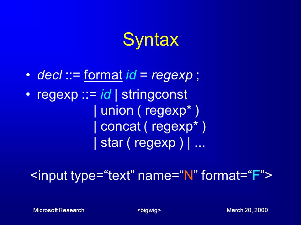Microsoft Research March 20, 2000 Syntax decl ::= format id = regexp ; regexp ::= id | stringconst | union ( regexp* ) | concat ( regexp* ) | star ( regexp ) |...