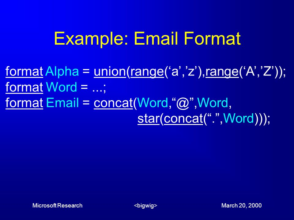 Microsoft Research March 20, 2000 Example: Email Format format Alpha = union(range('a','z'),range('A','Z')); format Word =...; format Email = concat(W