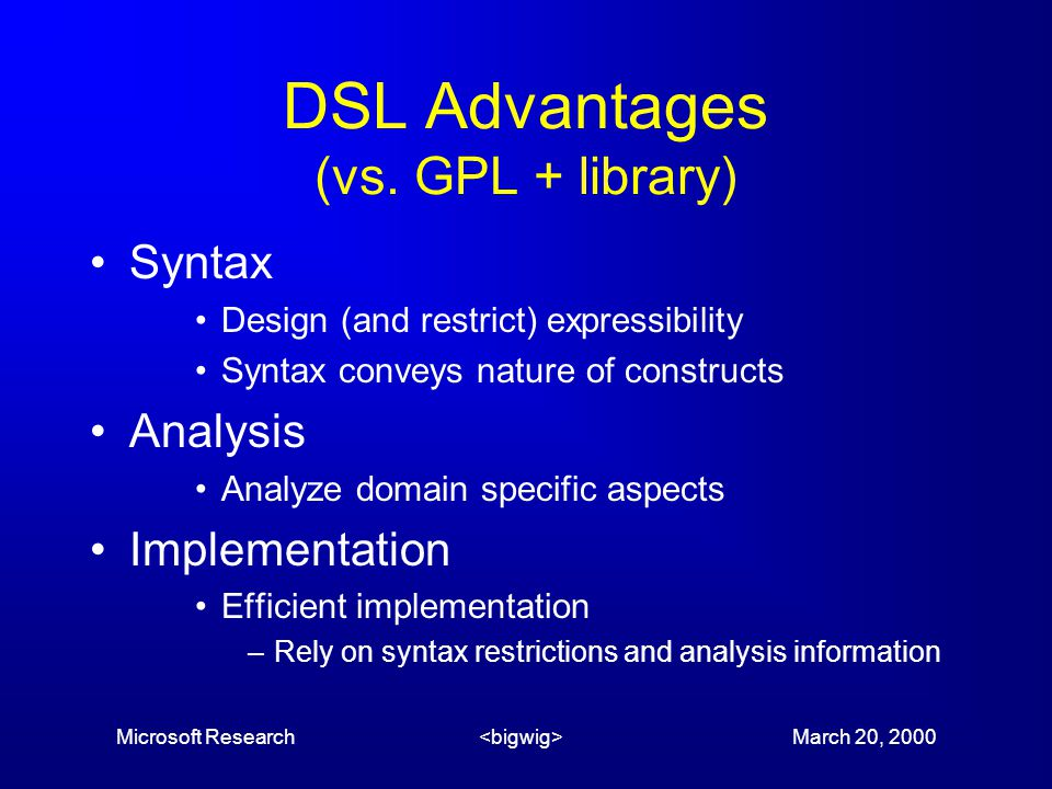 Microsoft Research March 20, 2000 DSL Advantages (vs.