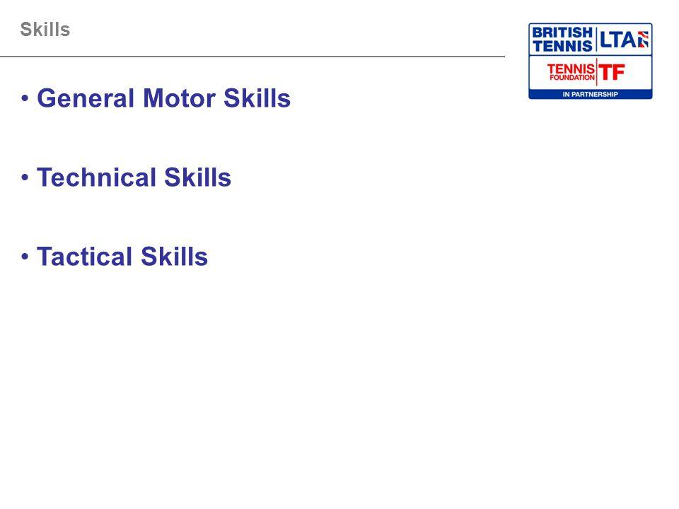 Skills General Motor Skills Technical Skills Tactical Skills