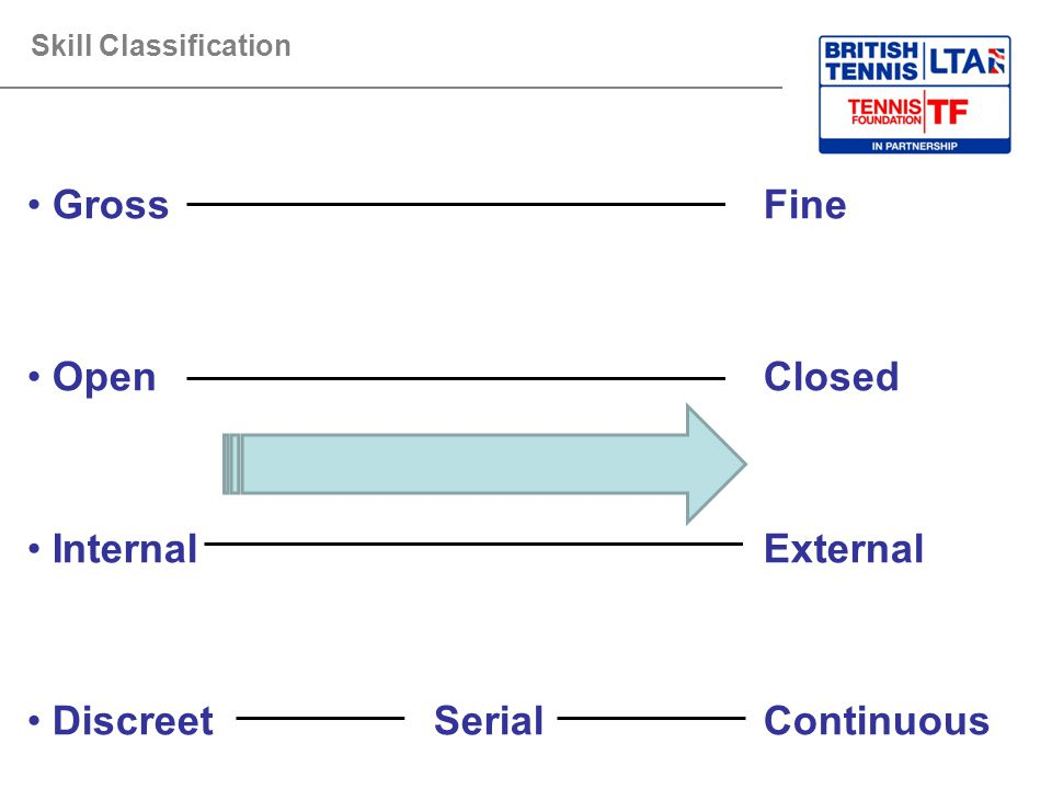 Skill Classification GrossFine OpenClosed Internal External Discreet SerialContinuous