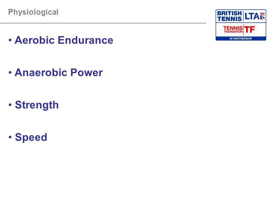Physiological Aerobic Endurance Anaerobic Power Strength Speed