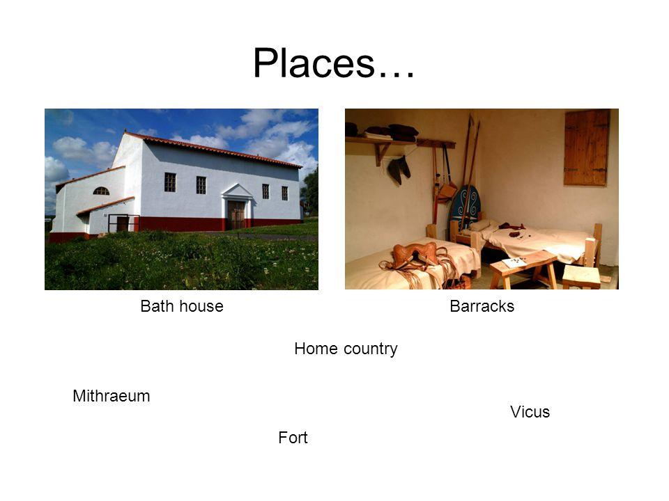Places… Mithraeum Fort Home country Vicus Bath houseBarracks