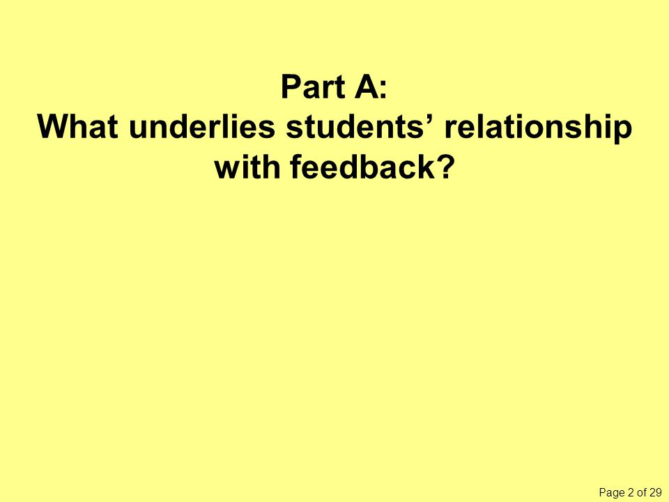 Page 2 of 29 Part A: What underlies students' relationship with feedback?