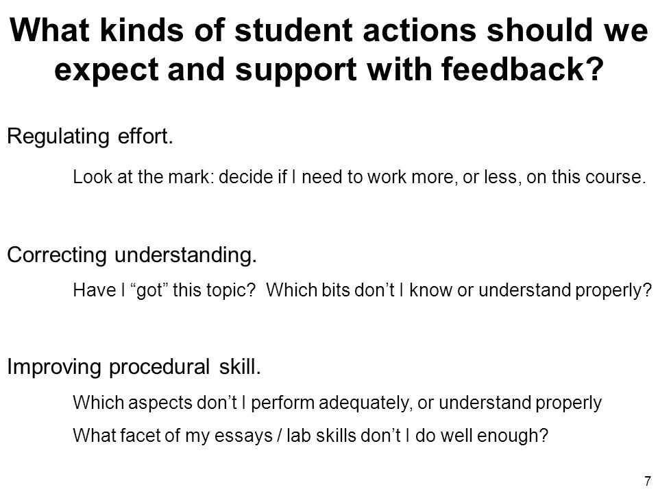 Message 28 Aspiration: Feedback that is used by learners (There is no point in giving feedback to a learner unless the learner uses it.) Design principles: 1.Ensure something triggers the learner into processing feedback into future actions.