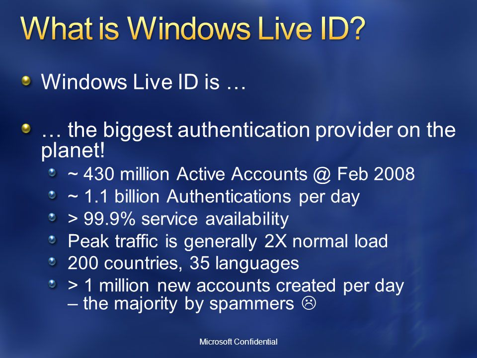 Windows Live ID is … … the biggest authentication provider on the planet.