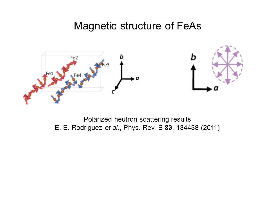 Magnetic structure of FeAs Polarized neutron scattering results E. E. Rodriguez et al., Phys. Rev. B 83, 134438 (2011)