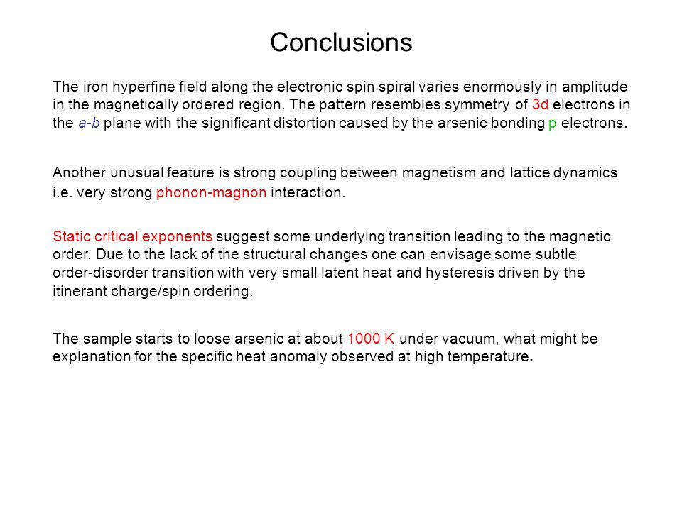 Conclusions The iron hyperfine field along the electronic spin spiral varies enormously in amplitude in the magnetically ordered region. The pattern r