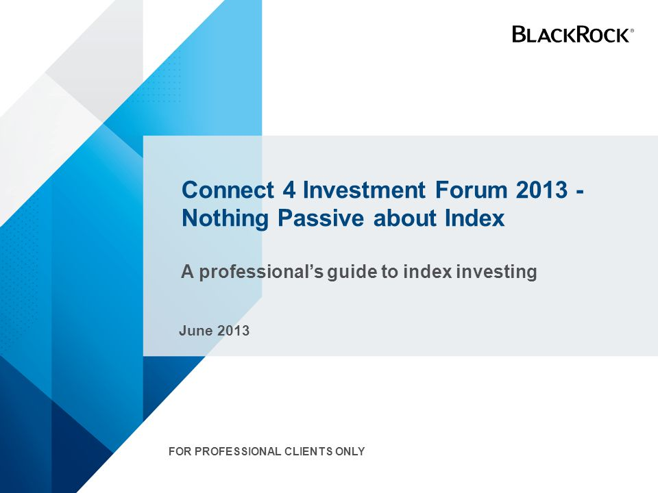 Connect 4 Investment Forum 2013 - Nothing Passive about Index A professional's guide to index investing June 2013 FOR PROFESSIONAL CLIENTS ONLY