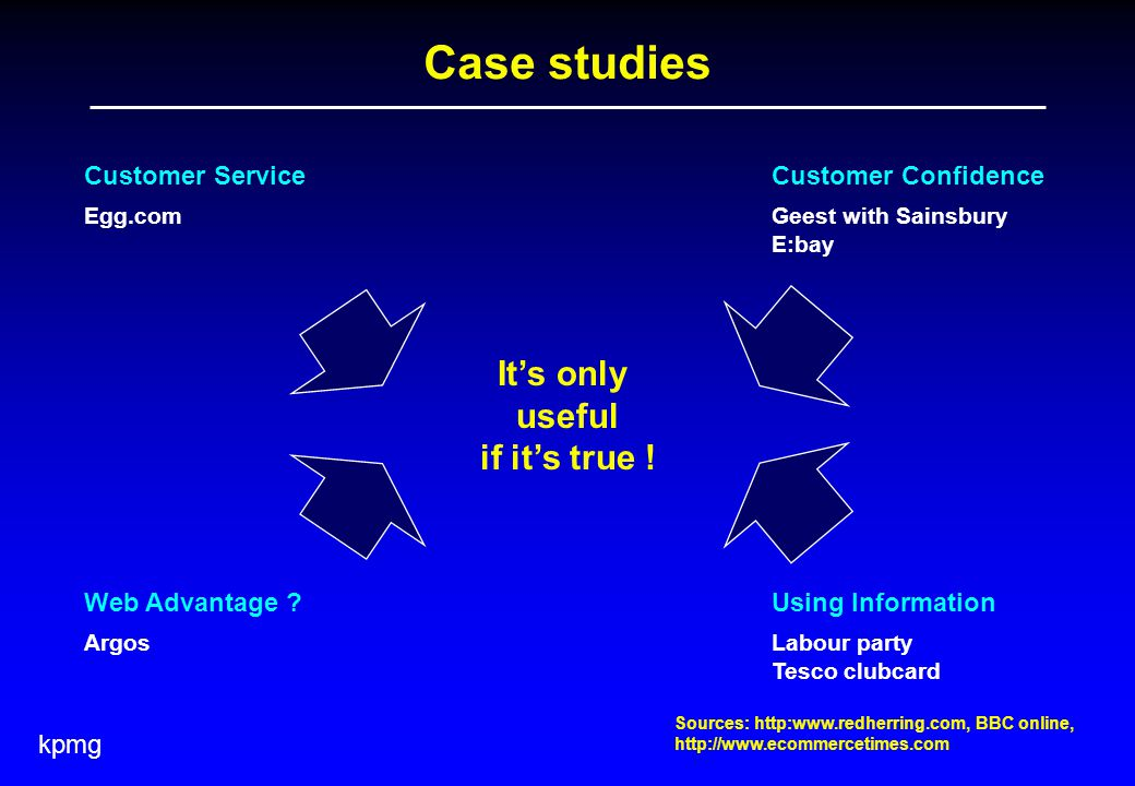 kpmg Case studies Customer Service Egg.com Customer Confidence Geest with Sainsbury E:bay Web Advantage .