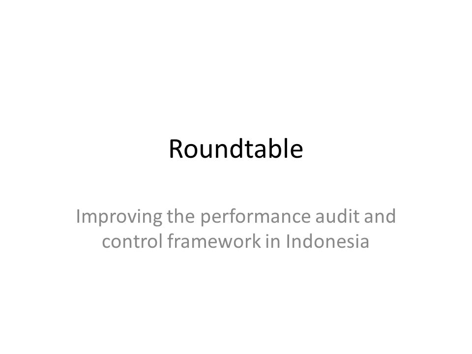 Roundtable Improving the performance audit and control framework in Indonesia