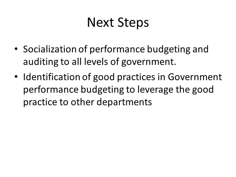 Next Steps Socialization of performance budgeting and auditing to all levels of government.