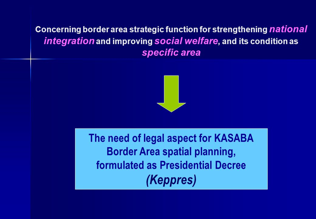 Concerning border area strategic function for strengthening national integration and improving social welfare, and its condition as specific area The need of legal aspect for KASABA Border Area spatial planning, formulated as Presidential Decree (Keppres)