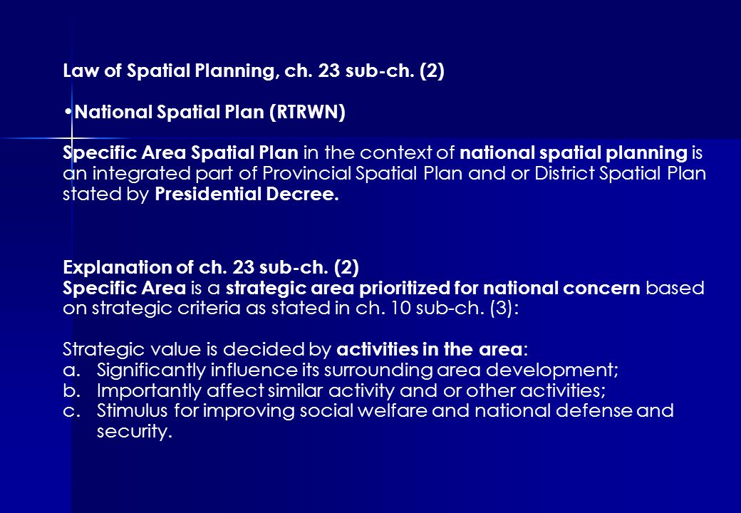 Law of Spatial Planning, ch. 23 sub-ch.