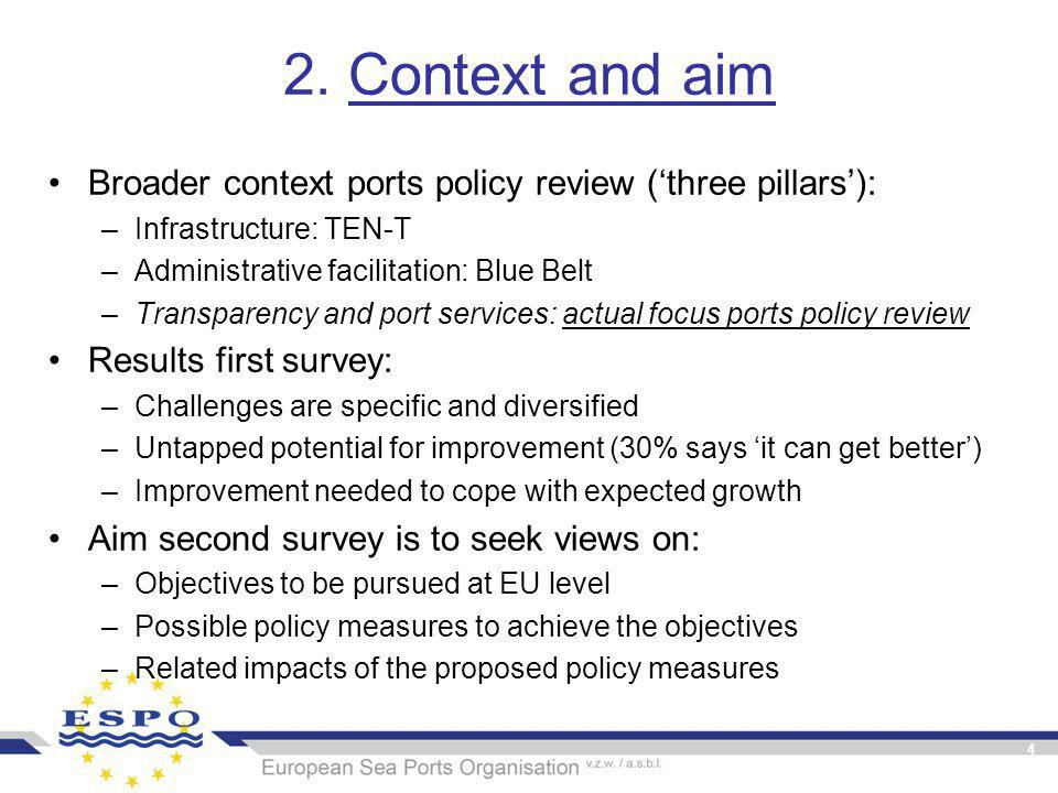2. Context and aim Broader context ports policy review ('three pillars'): –Infrastructure: TEN-T –Administrative facilitation: Blue Belt –Transparency