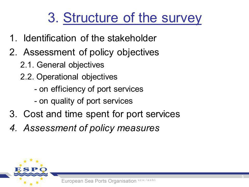 5 3. Structure of the survey 1.Identification of the stakeholder 2.Assessment of policy objectives 2.1. General objectives 2.2. Operational objectives