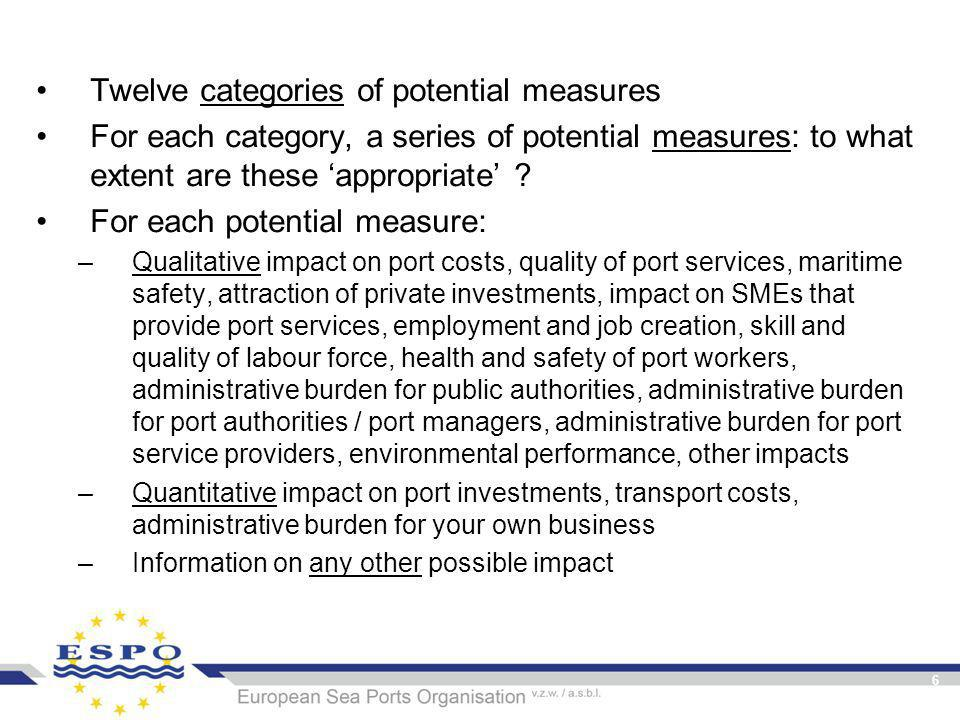 6 Twelve categories of potential measures For each category, a series of potential measures: to what extent are these 'appropriate' .