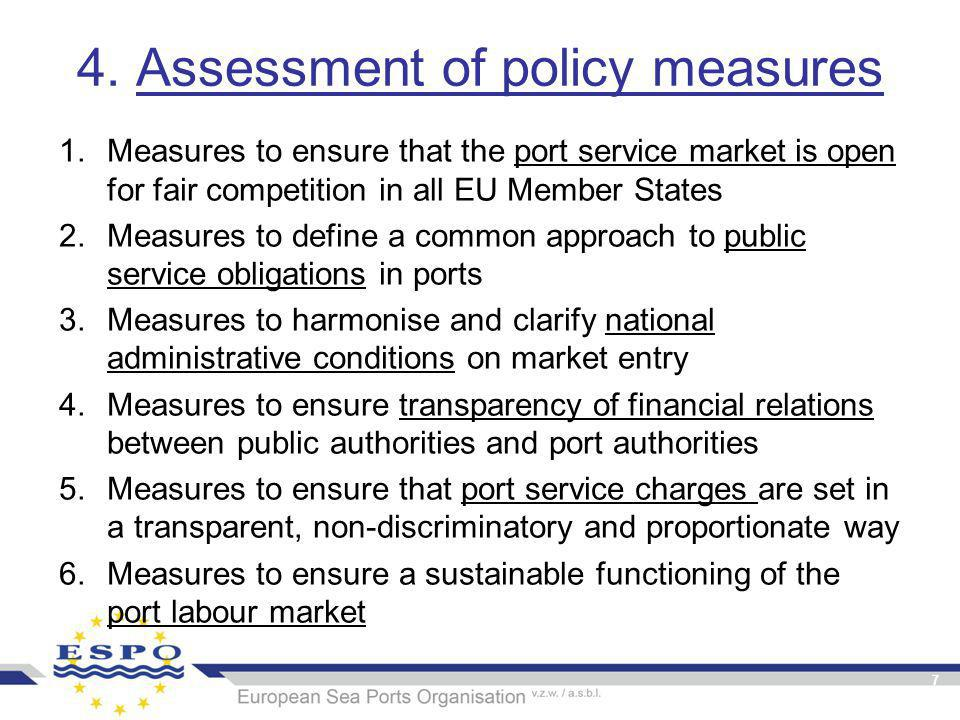 4. Assessment of policy measures 1.Measures to ensure that the port service market is open for fair competition in all EU Member States 2.Measures to