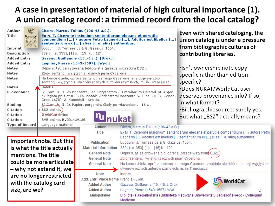 A case in presentation of material of high cultural importance (1).