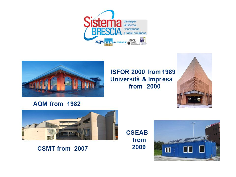 ISFOR 2000 from 1989 Università & Impresa from 2000 CSEAB from 2009 AQM from1982 CSMT from 2007