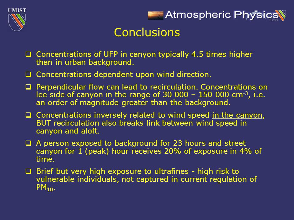  Concentrations of UFP in canyon typically 4.5 times higher than in urban background.  Concentrations dependent upon wind direction.  Perpendicular