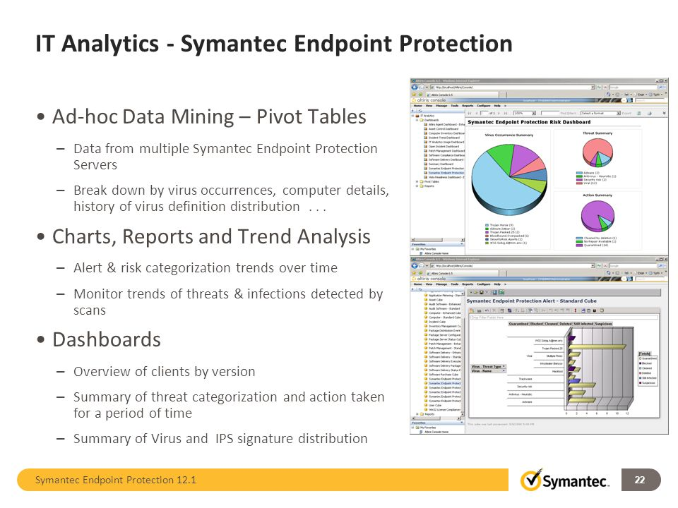 IT Analytics - Symantec Endpoint Protection Ad-hoc Data Mining – Pivot Tables – Data from multiple Symantec Endpoint Protection Servers – Break down b