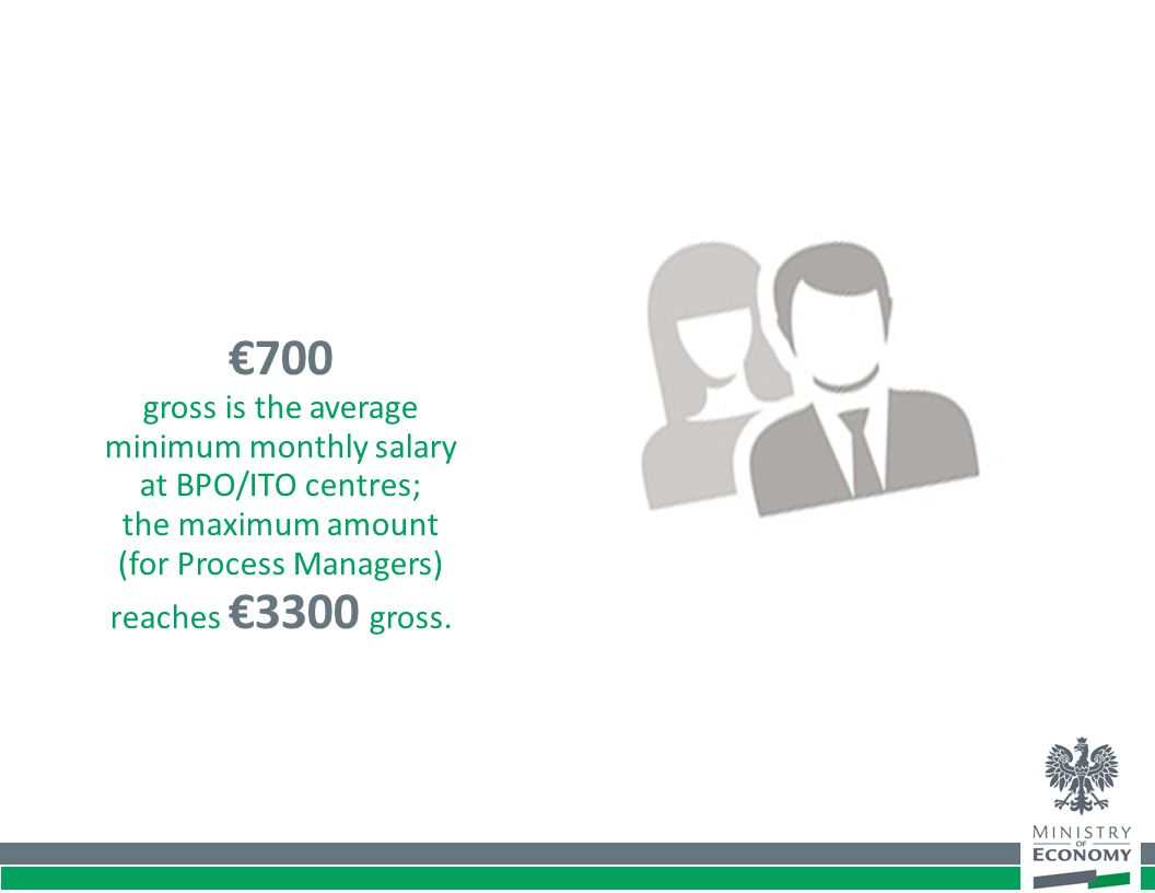 €700 gross is the average minimum monthly salary at BPO/ITO centres; the maximum amount (for Process Managers) reaches €3300 gross.