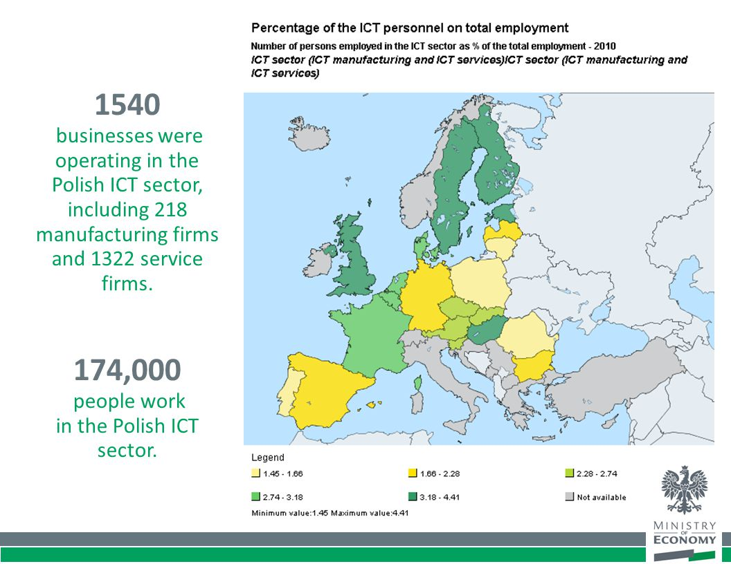 174,000 people work in the Polish ICT sector. 1540 businesses were operating in the Polish ICT sector, including 218 manufacturing firms and 1322 serv