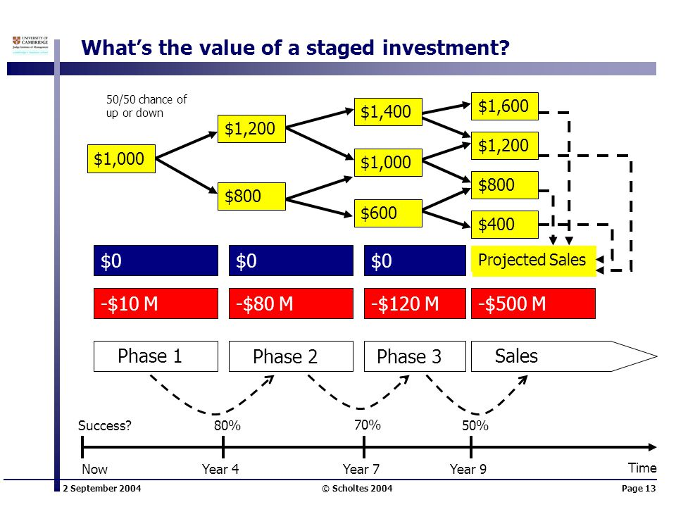 2 September 2004 © Scholtes 2004Page 13 What's the value of a staged investment.