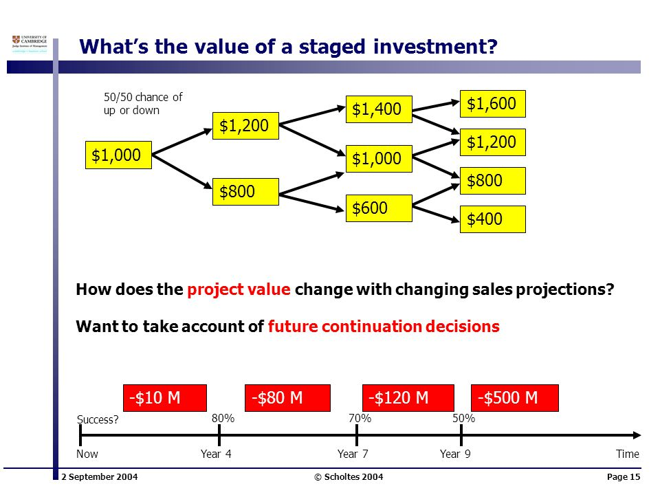 2 September 2004 © Scholtes 2004Page 15 What's the value of a staged investment? $1,400 $1,600 $400 $800 $1,200 $1,000 $600 $800 $1,200 $1,000 50/50 c