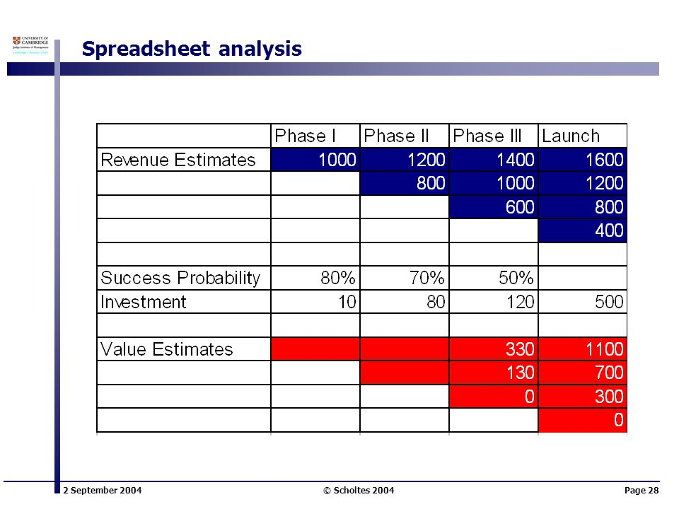 2 September 2004 © Scholtes 2004Page 28 Spreadsheet analysis