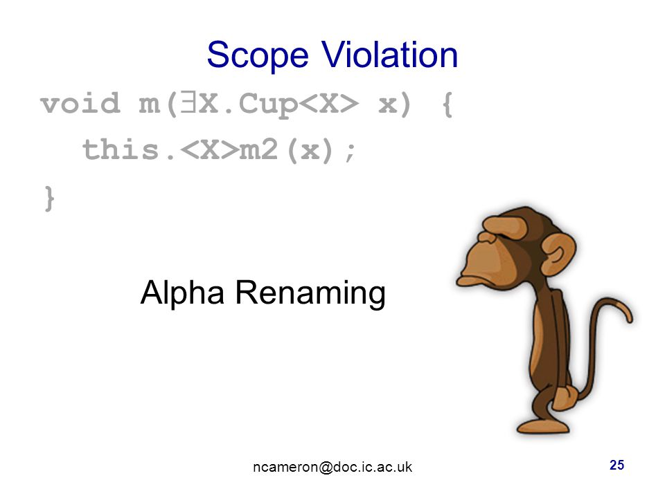 Scope Violation void m(  X.Cup x) { this. m2(x); } Alpha Renaming 25