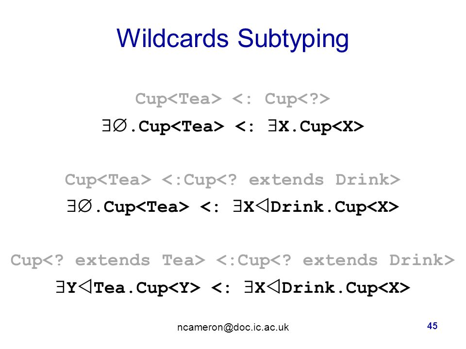 Wildcards Subtyping Cup .Cup Cup .Cup Cup  Y  Tea.Cup ncameron@doc.ic.ac.uk 45