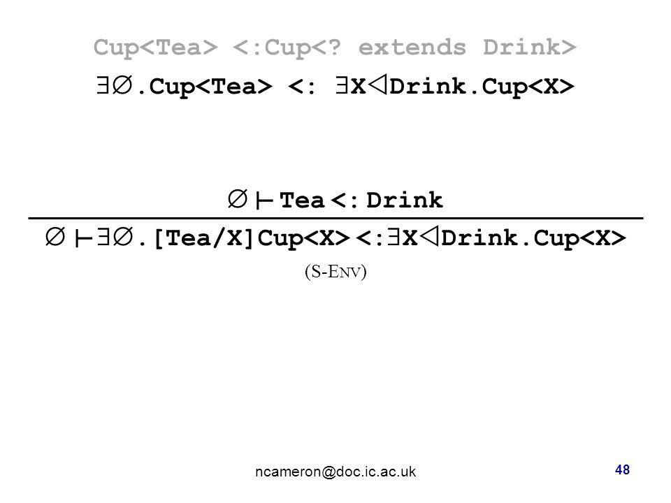 Cup .Cup  Tea <: Drink  .[Tea/X]Cup (S-E NV ) ncameron@doc.ic.ac.uk 48 ┴ ┴