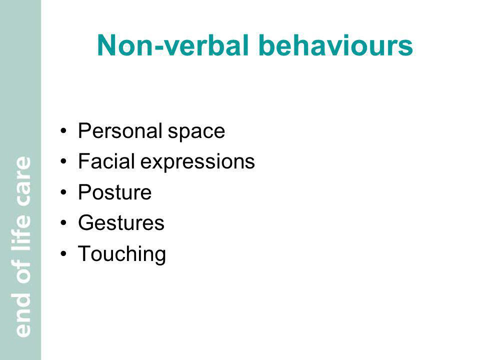 Non-verbal behaviours Personal space Facial expressions Posture Gestures Touching