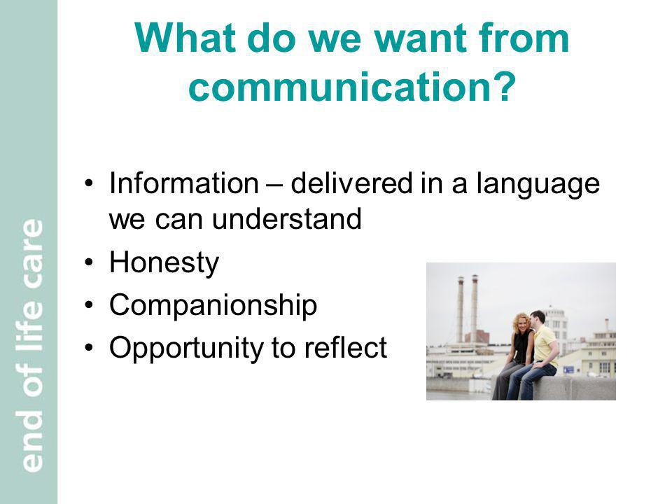 Exercise 1 Why is effective communication so important in relation to end of life care.
