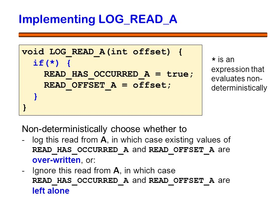39 Implementing LOG_READ_A void LOG_READ_A(int offset) { if(*) { READ_HAS_OCCURRED_A = true; READ_OFFSET_A = offset; } } Non-deterministically choose whether to -log this read from A, in which case existing values of READ_HAS_OCCURRED_A and READ_OFFSET_A are over-written, or: -Ignore this read from A, in which case READ_HAS_OCCURRED_A and READ_OFFSET_A are left alone * is an expression that evaluates non- deterministically