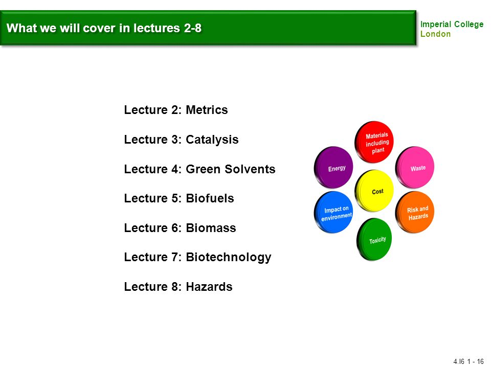 Imperial College London What we will cover in lectures 2-8 Lecture 2: Metrics Lecture 3: Catalysis Lecture 4: Green Solvents Lecture 5: Biofuels Lecture 6: Biomass Lecture 7: Biotechnology Lecture 8: Hazards 4.I6 1 - 16