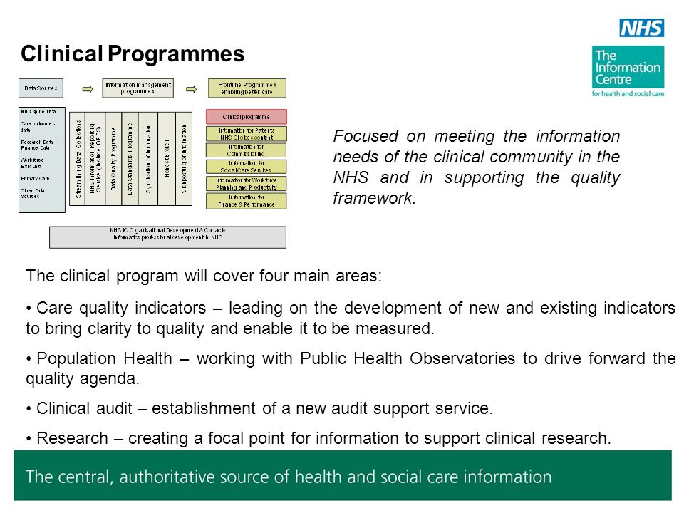 Clinical Programmes Focused on meeting the information needs of the clinical community in the NHS and in supporting the quality framework. The clinica