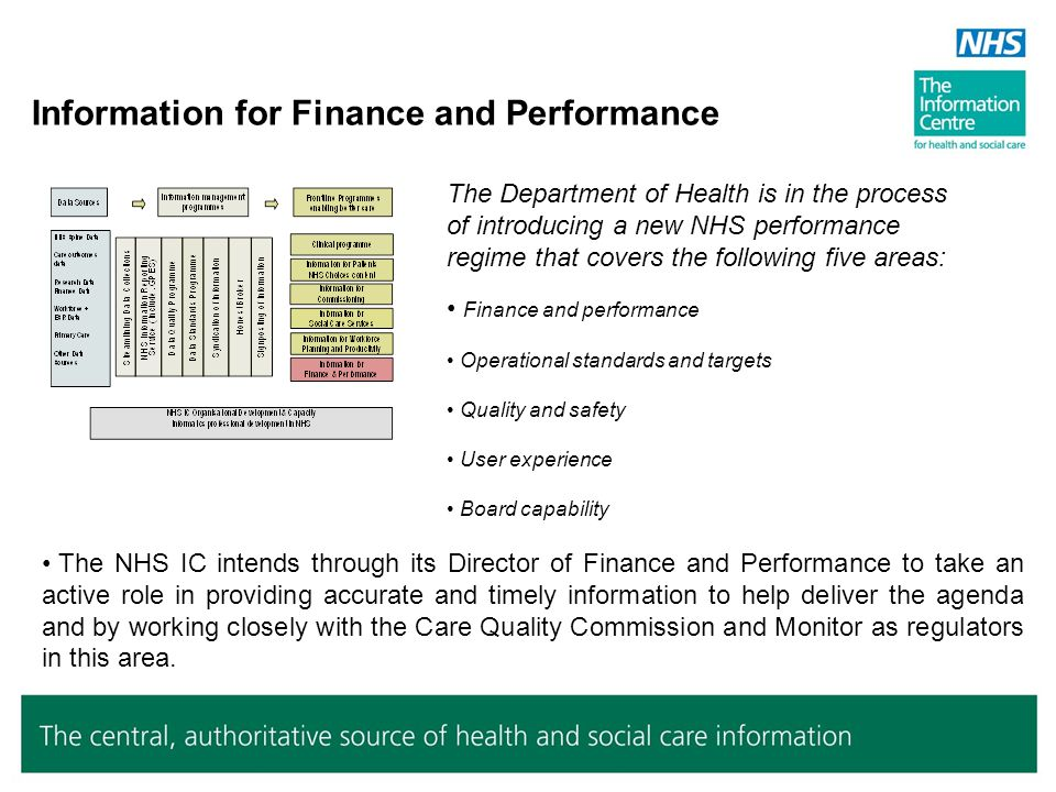 Information for Finance and Performance The NHS IC intends through its Director of Finance and Performance to take an active role in providing accurat