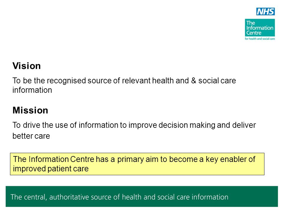 Vision To be the recognised source of relevant health and & social care information Mission To drive the use of information to improve decision making