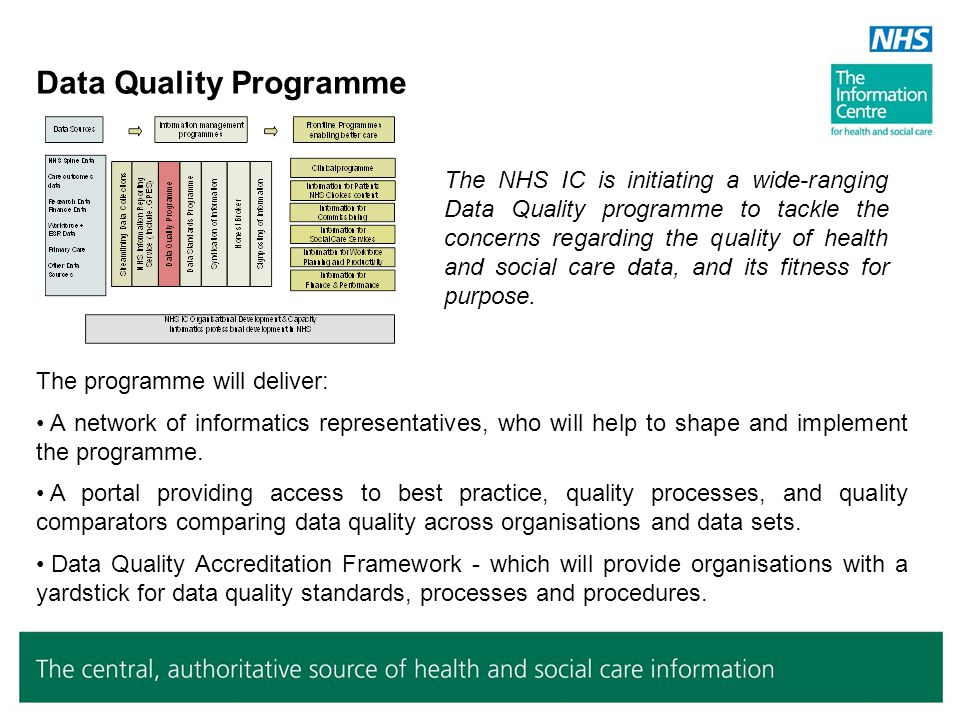 Data Quality Programme The NHS IC is initiating a wide-ranging Data Quality programme to tackle the concerns regarding the quality of health and socia