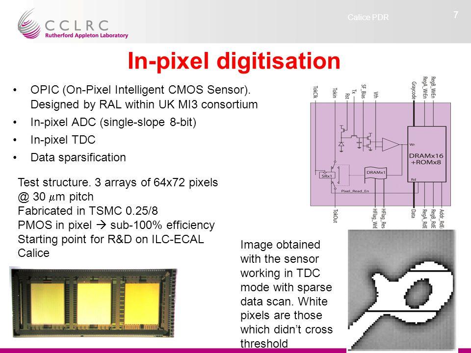 Calice PDR 7 In-pixel digitisation OPIC (On-Pixel Intelligent CMOS Sensor).