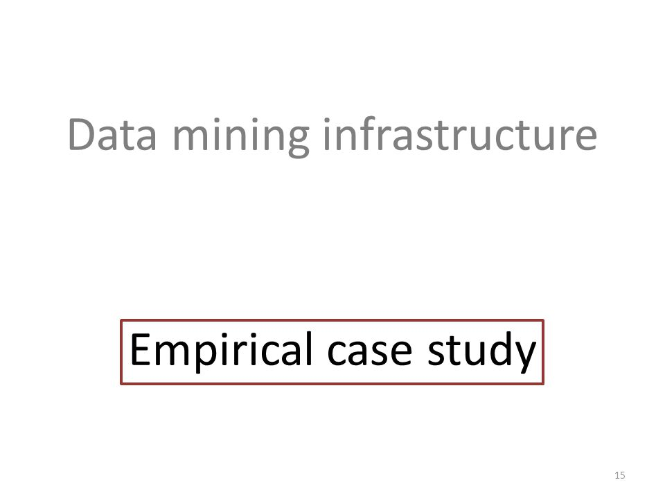 Data mining infrastructure Empirical case study 15