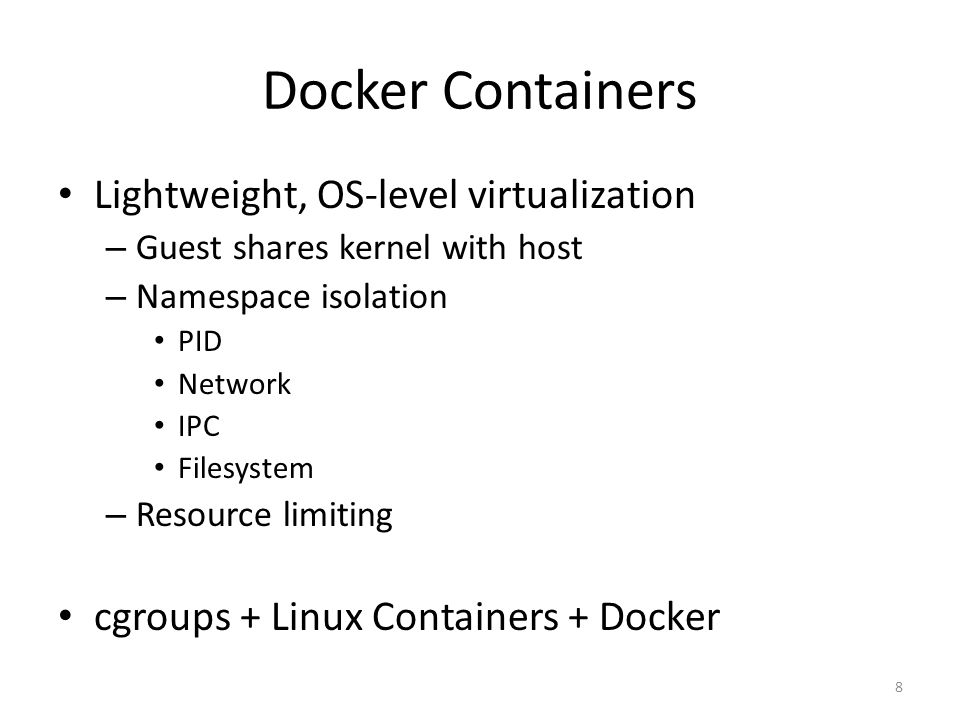 Docker Containers Features Isolation Consistency Reproducibility Easy cloud deployment Performance 9