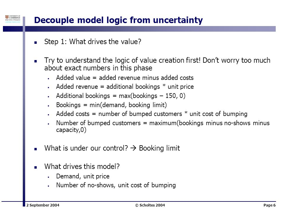 2 September 2004 © Scholtes 2004Page 6 Decouple model logic from uncertainty Step 1: What drives the value.